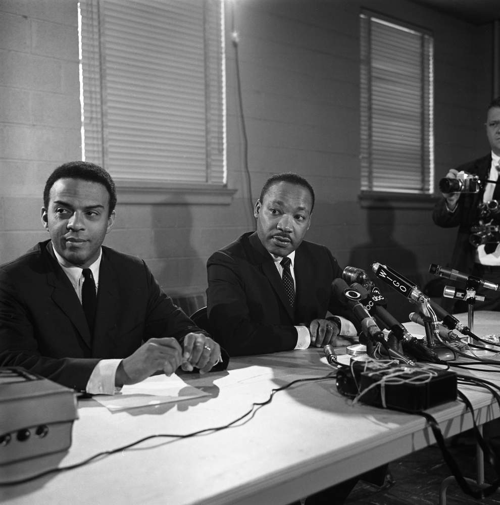 SCLC director Andrew Young and Martin Luther King Jr. during a press conference in April 1967. Bob Dendy\/AJC