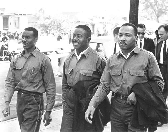 Fred Shuttlesworth, Ralph D. Abernathy and Martin Luther King Jr. in spring 1963 in Birmingham.  Photo courtesy Birmingham, Ala., Public Library Archives