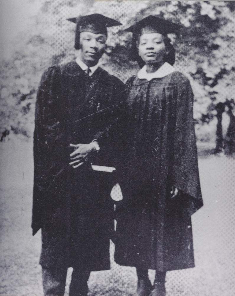 Martin Luther King Jr. and his sister, Christine, after their commencement ceremonies at Morehouse College and Spelman College in 1948. File photo